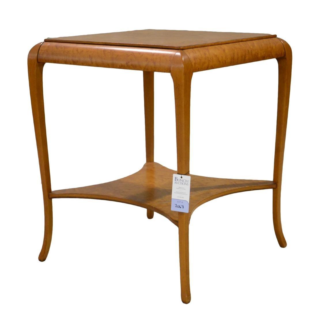 Figured maple lamp table, lower shelf, c 1900-20