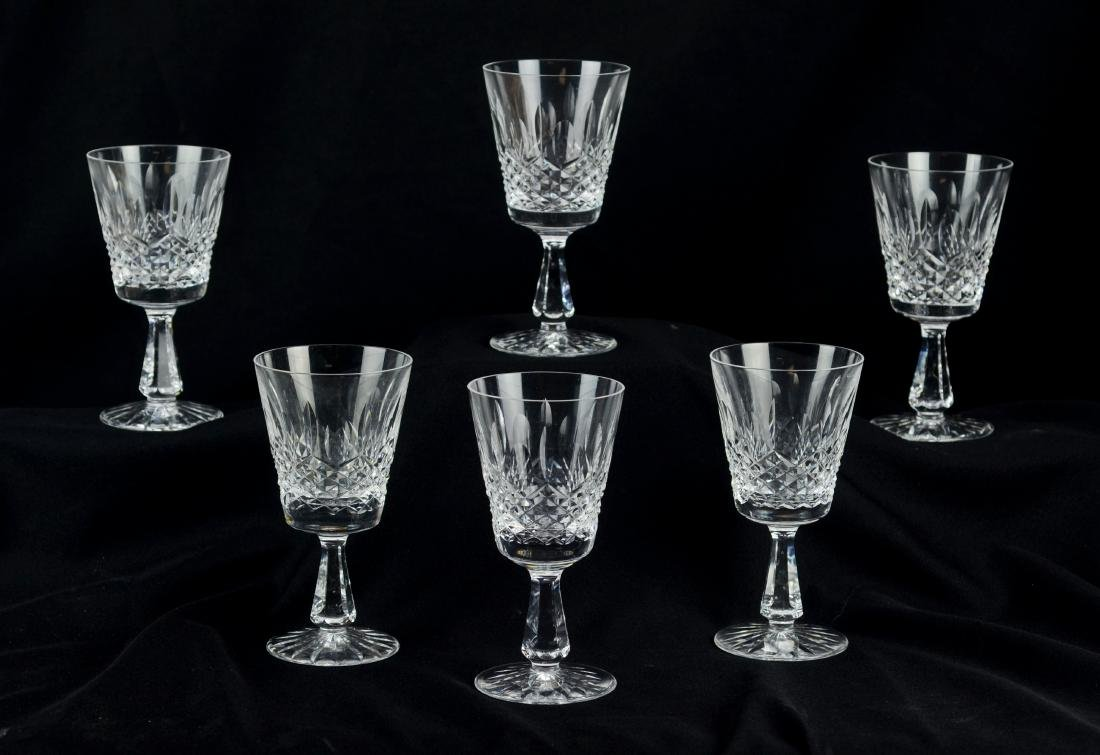 (6) Waterford Kenmare cut crystal water goblets