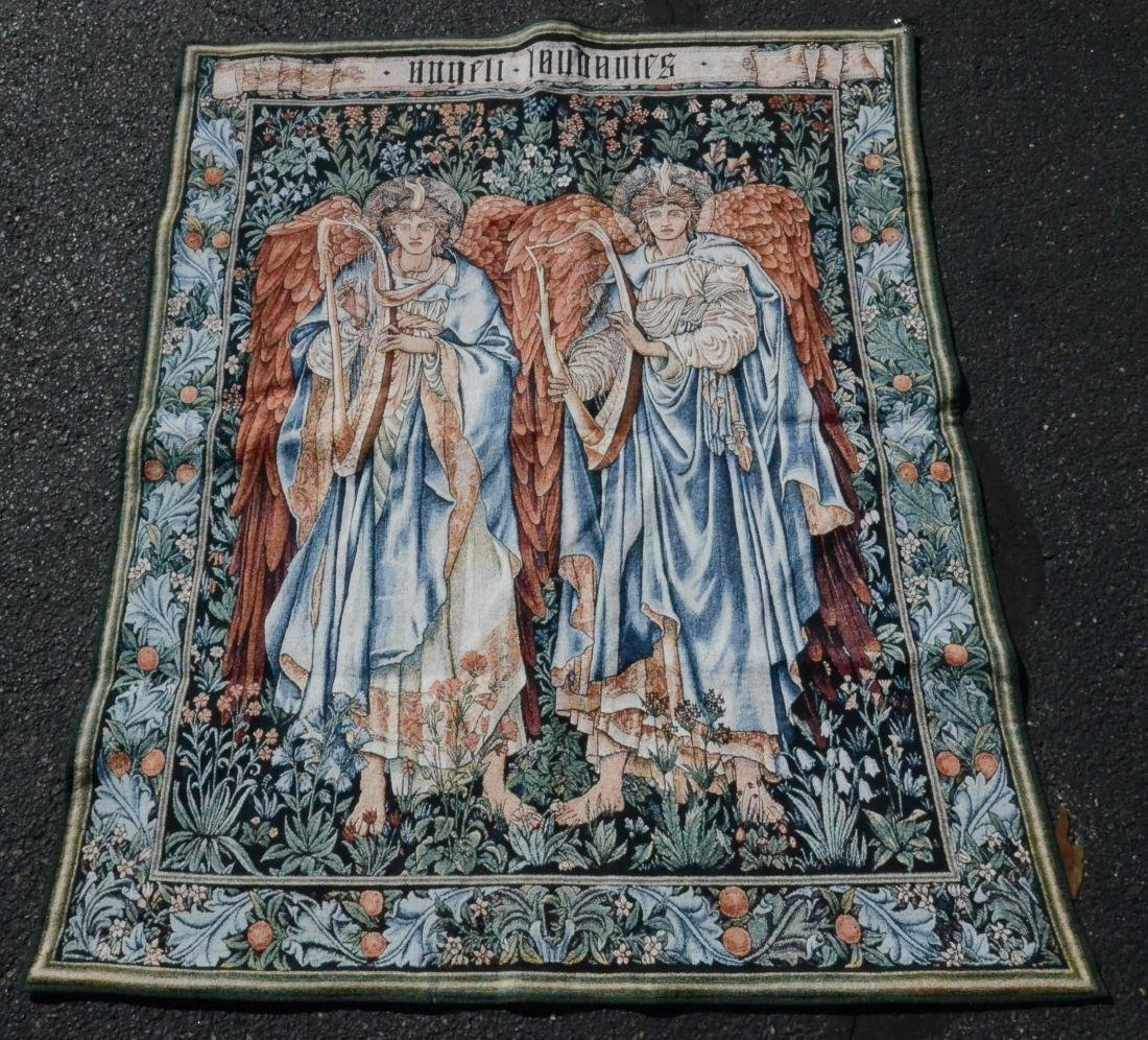 Machine woven tapestry depicting musical angels
