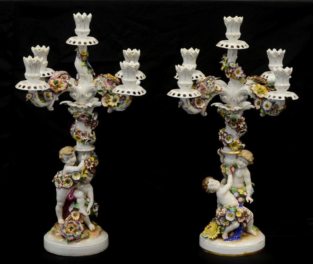 Pr Schierholz porcelain 2-part figural candelabra