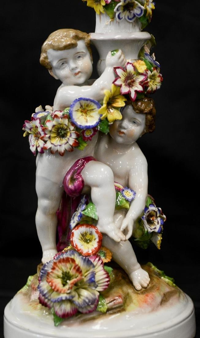 Pr Schierholz porcelain 2-part figural candelabra - 3