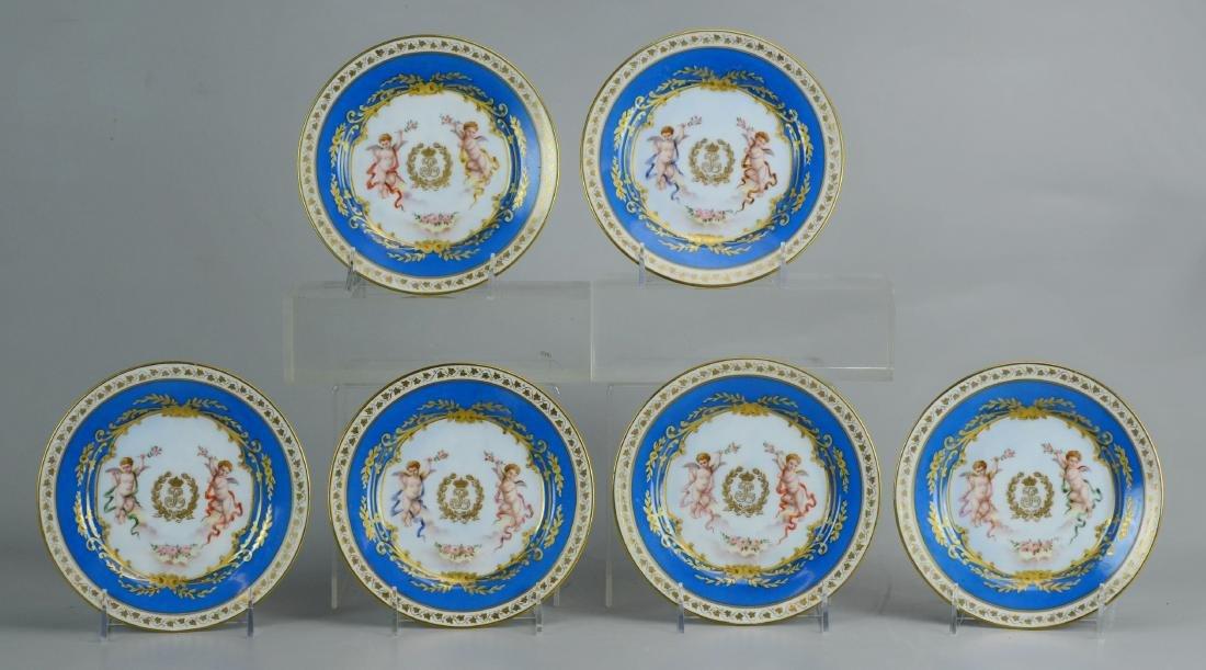 (6) Sevres style Louis Philippe Porcelain Plates