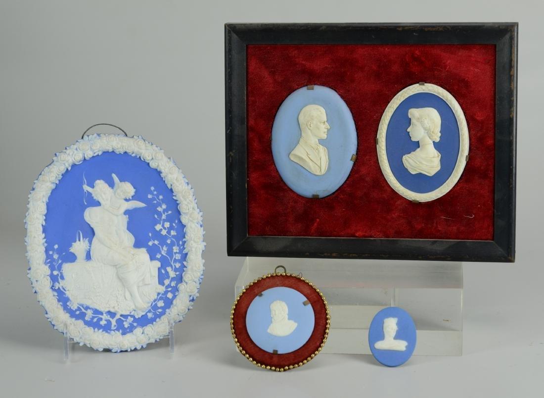 5 Blue Jasperware plaques