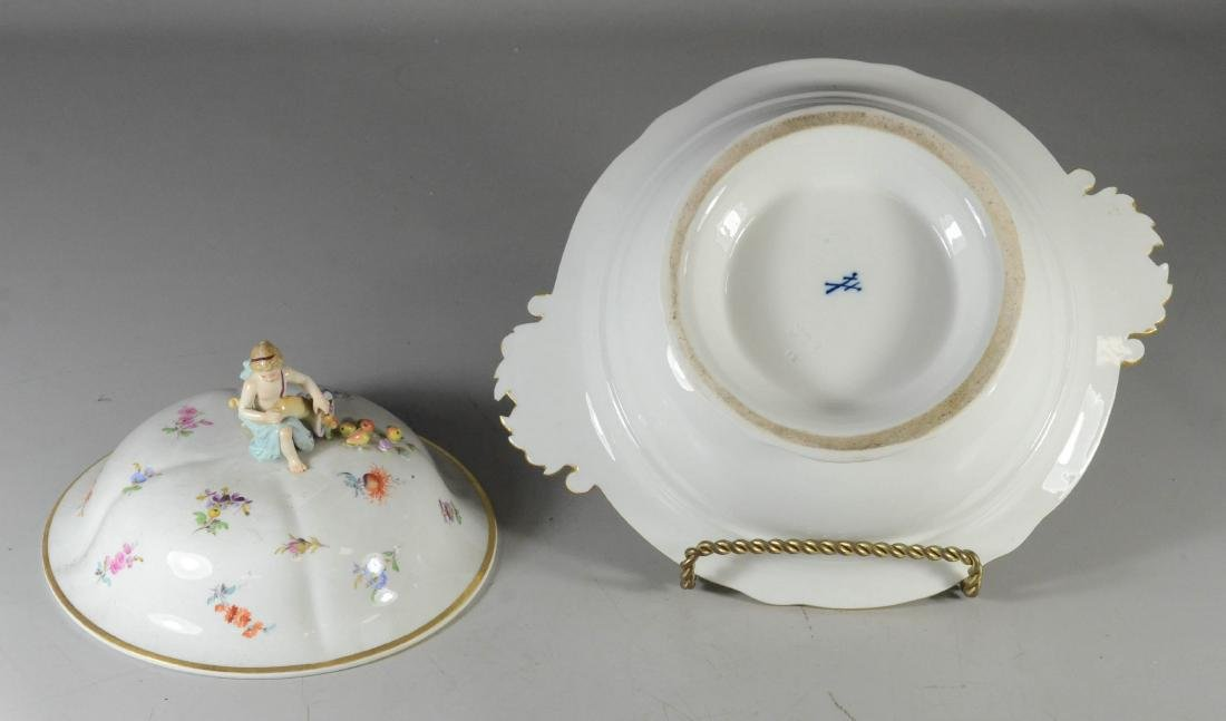Meissen porcelain round covered entree dish - 3