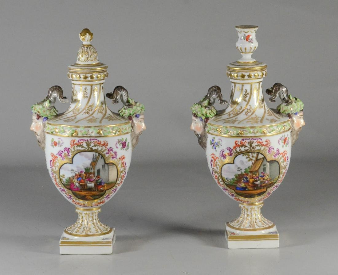 Pair of Dresden porcelain cassoulets