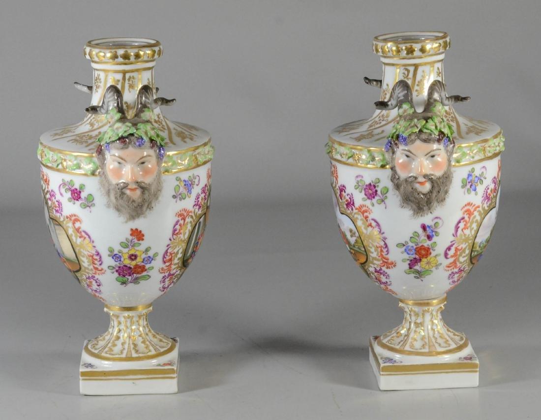 Pair of Dresden porcelain cassoulets - 2