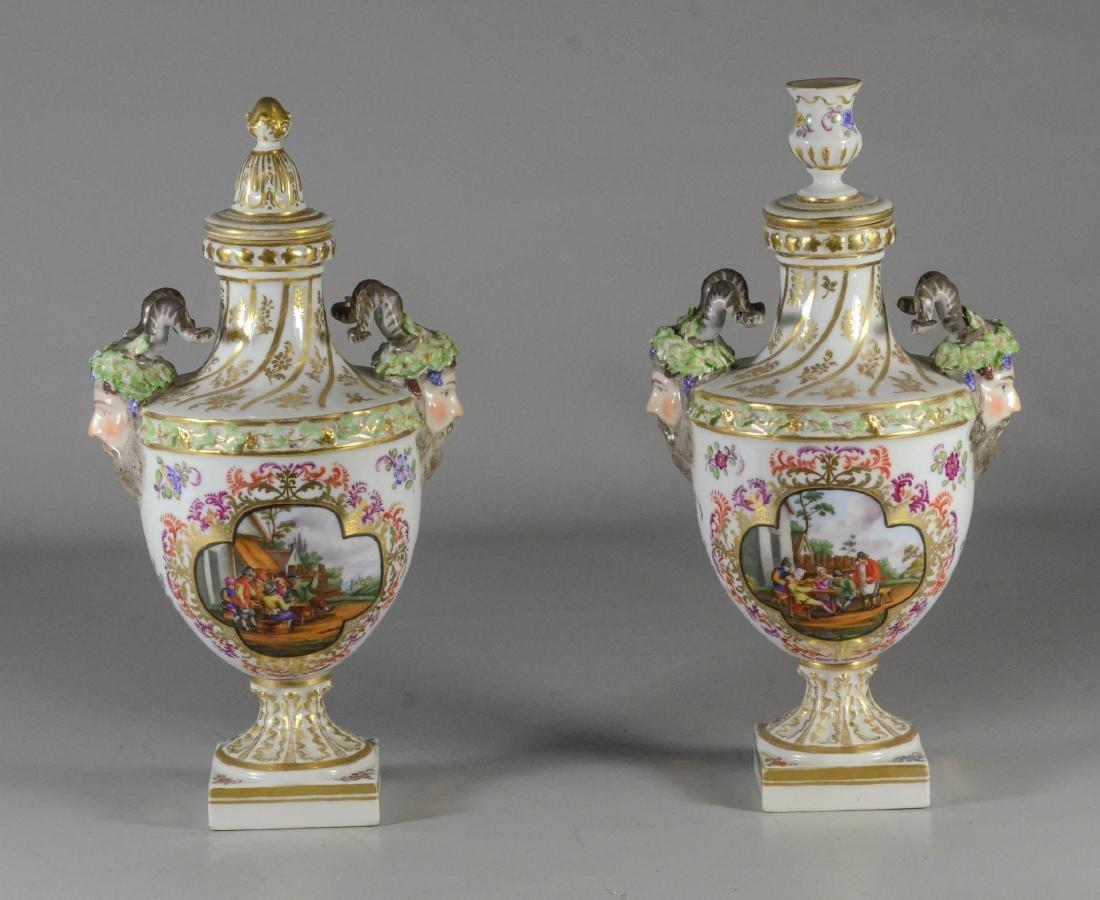 Pair of Dresden porcelain cassoulets - 5