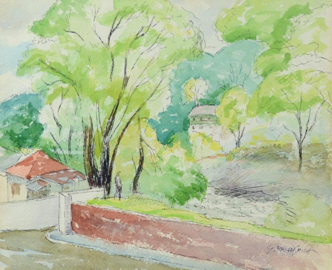 "G Ralph Smith, watercolor, ""Pastoral Landscape"""