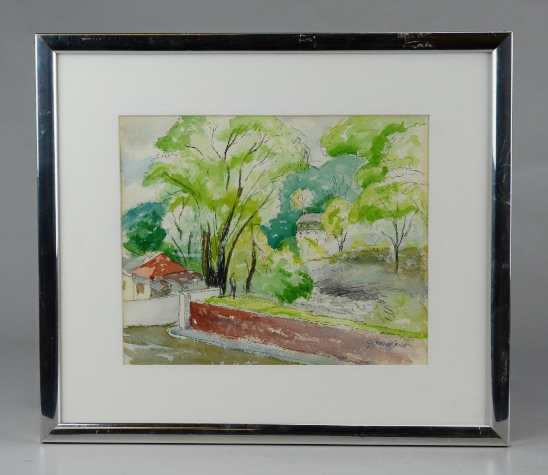"G Ralph Smith, watercolor, ""Pastoral Landscape"" - 2"