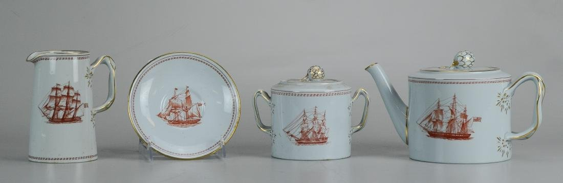 (4) pcs Spode Red Trade Winds porcelain