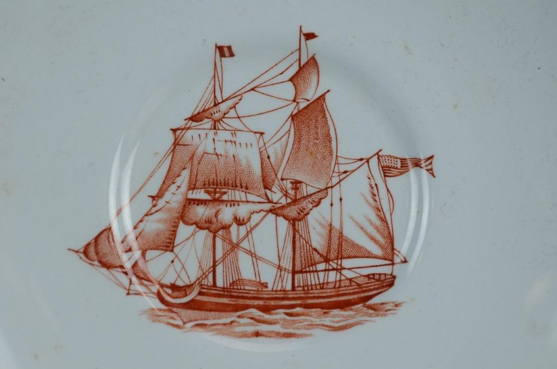(4) pcs Spode Red Trade Winds porcelain - 2
