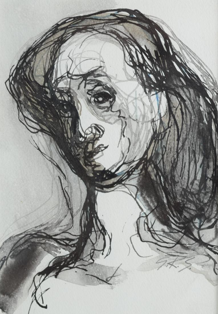 G Ralph Smith, mixed media portrait, Black and White