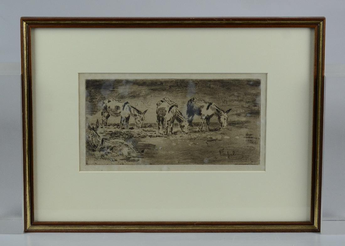 """Felix Buhot, etching """"Quarte Anons Dans Un Pre"""""""