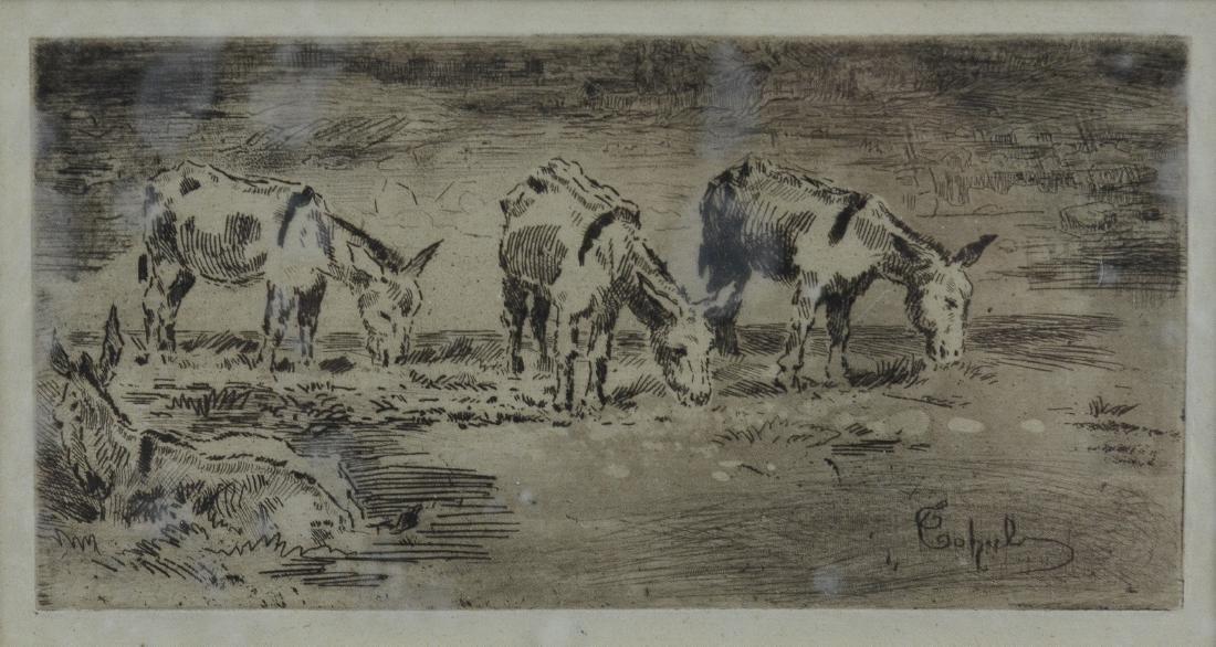 """Felix Buhot, etching """"Quarte Anons Dans Un Pre"""" - 2"""