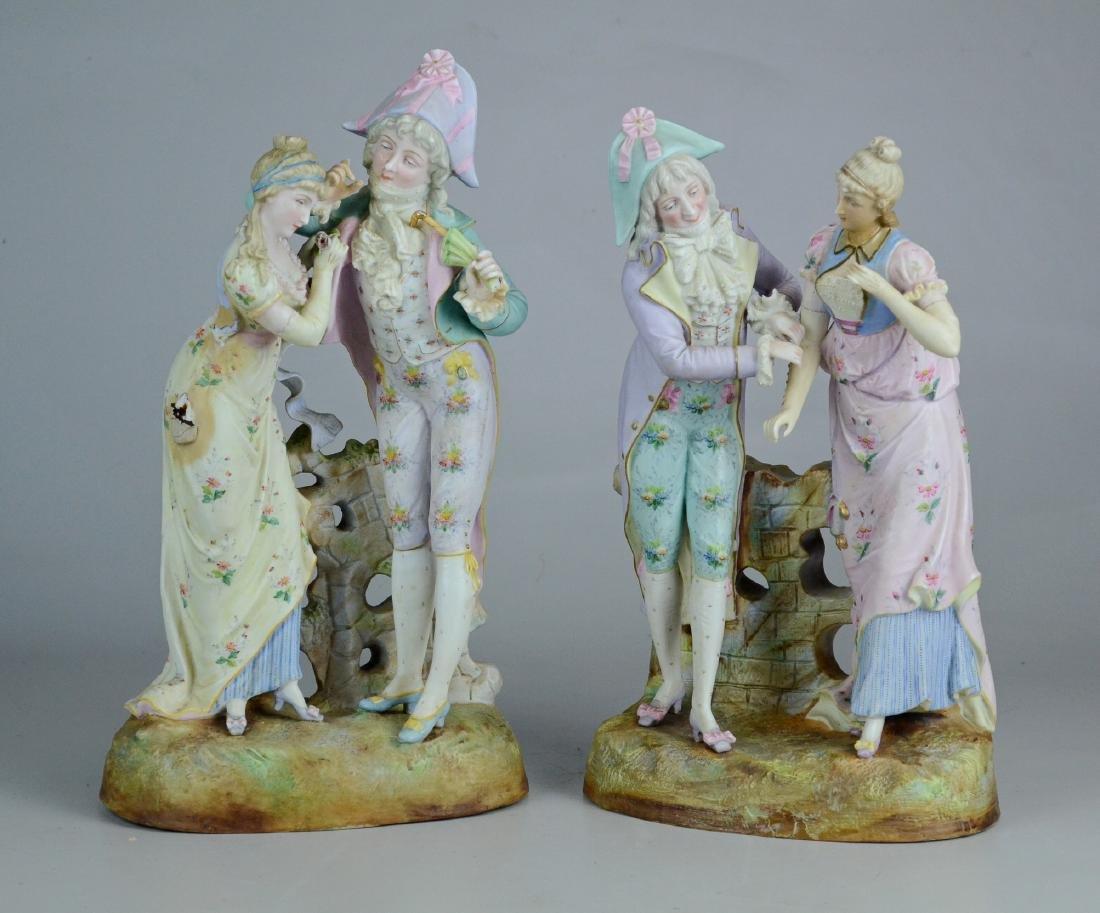 Pr bisque porcelain couple figurines