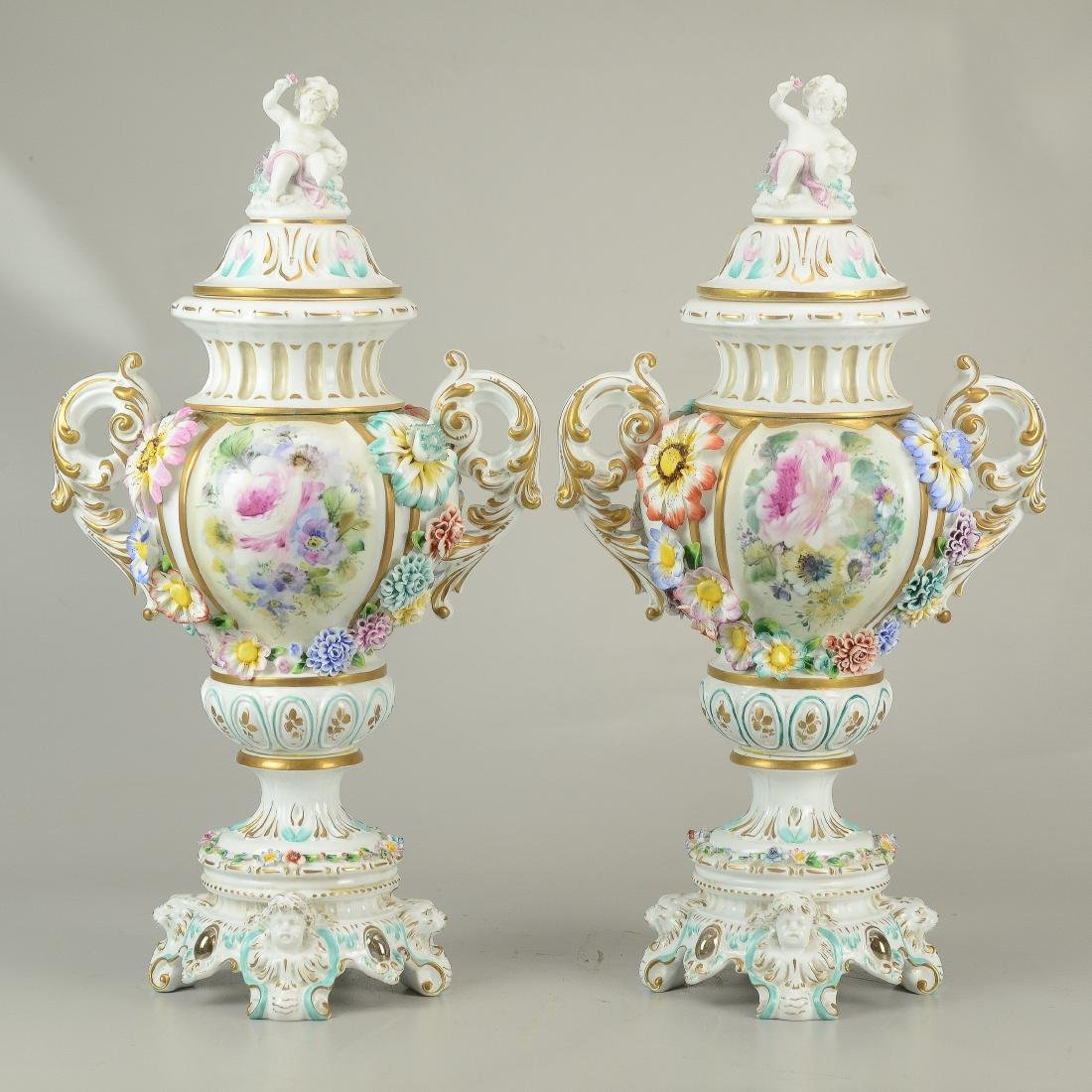 """Pr Tiche porcelain covered urns, made in Italy, 22-1/2"""""""