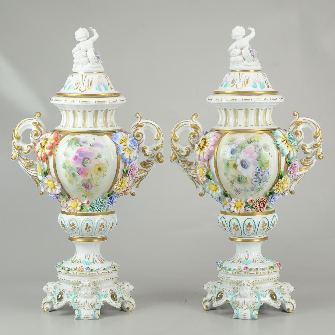 """Pr Tiche porcelain covered urns, made in Italy, 22-1/2"""" - 2"""