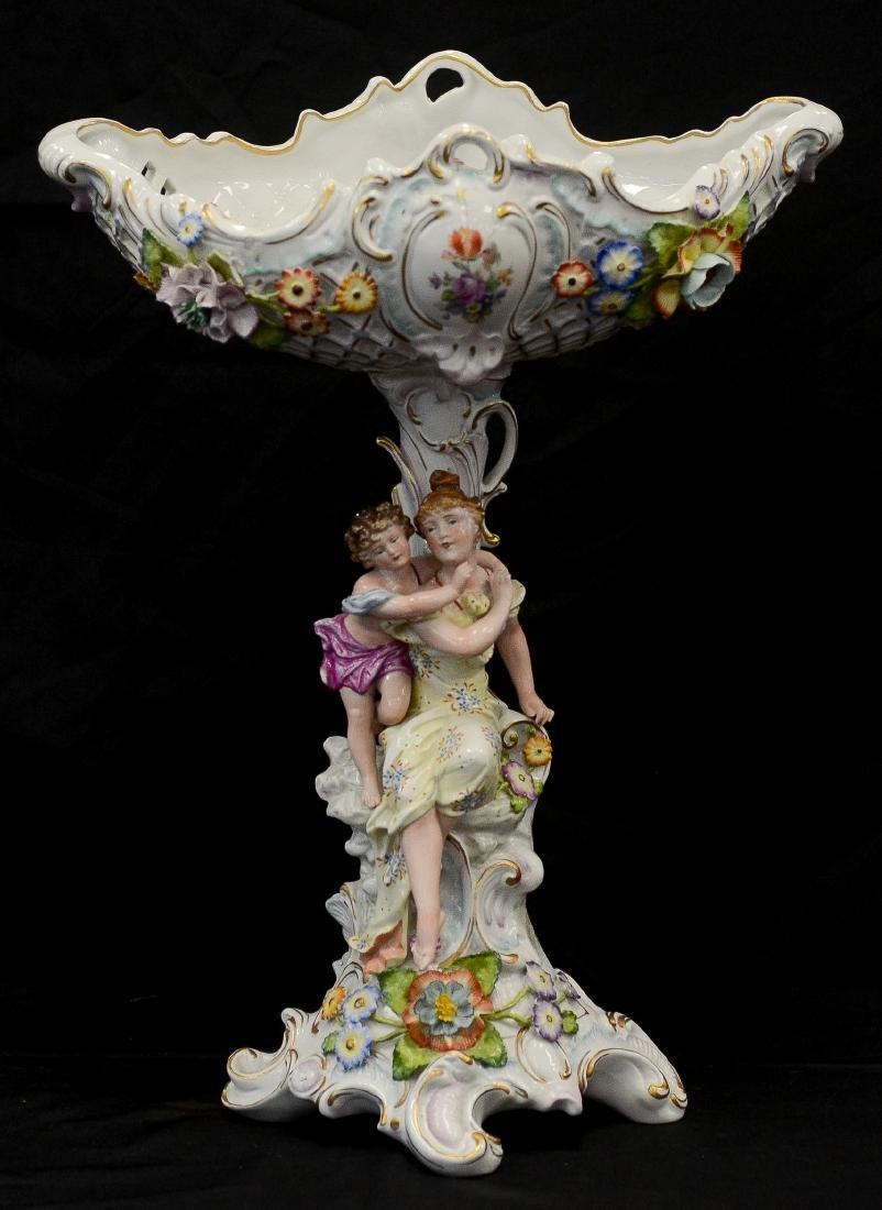 Sitzendorf porcelain figural compote
