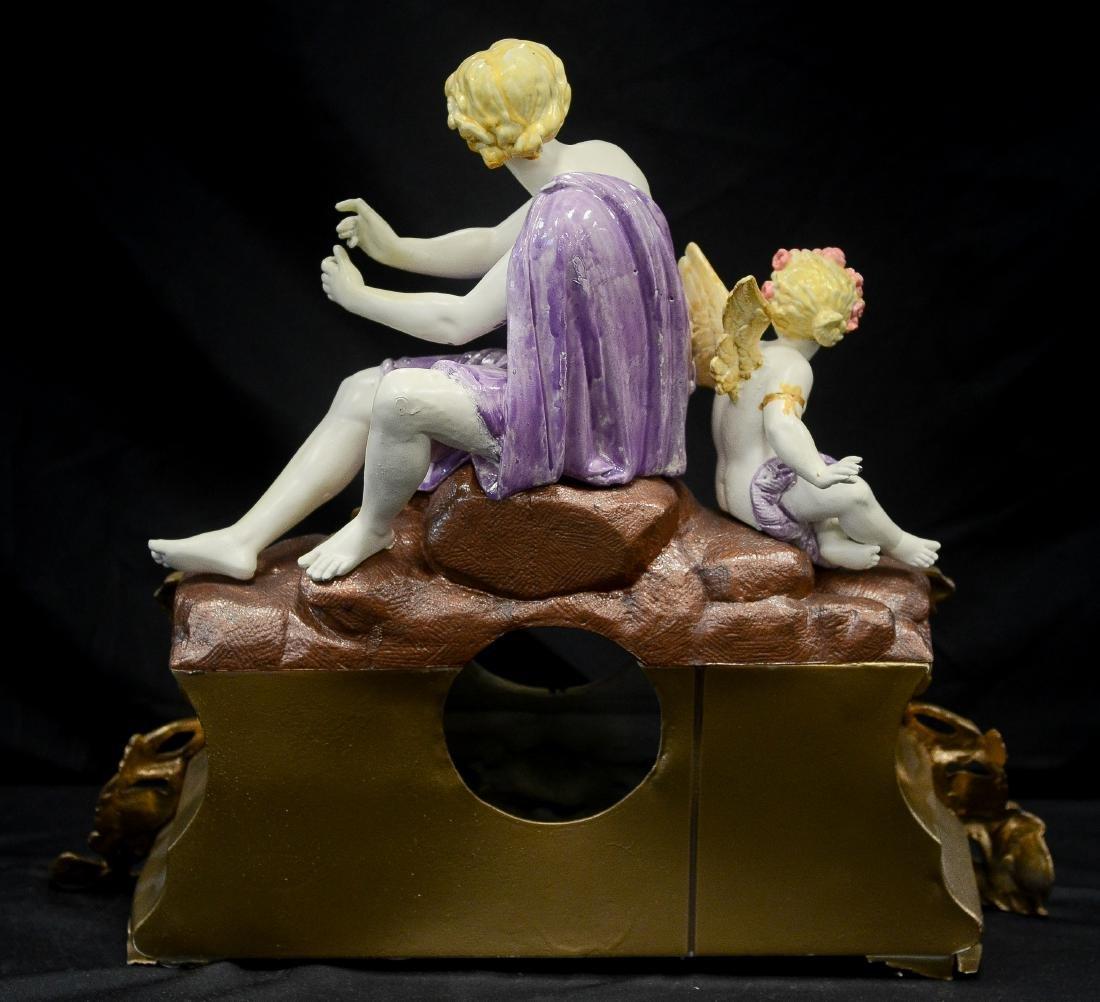 Painted spelter clock case, woman & cherub - 2