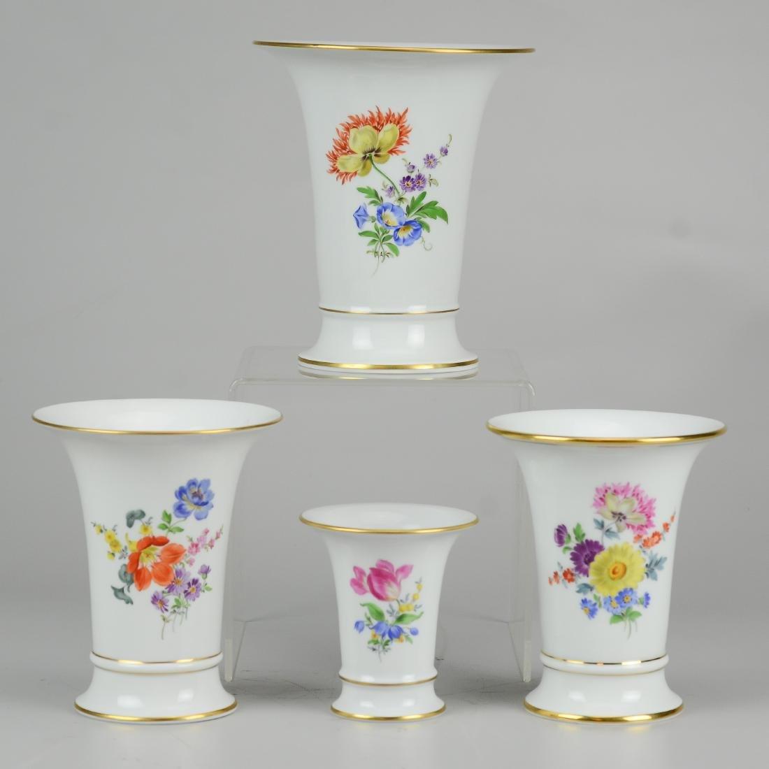 (4) Meissen floral trumpet vases