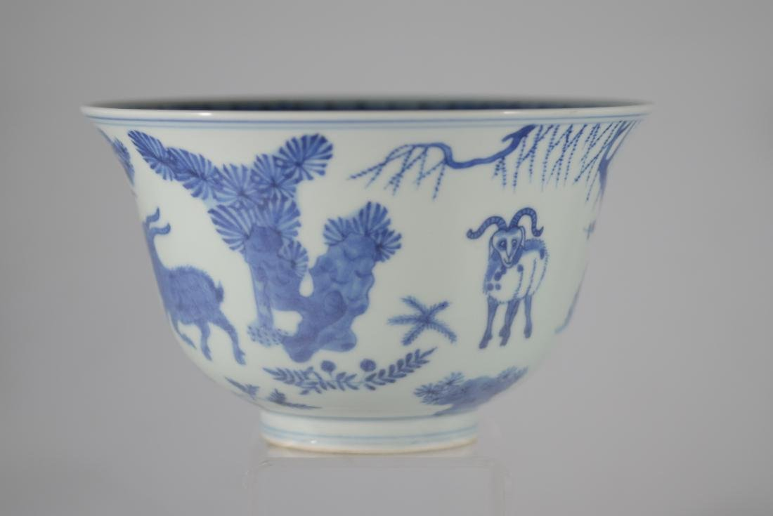 Chinese blue and white bowl with deer