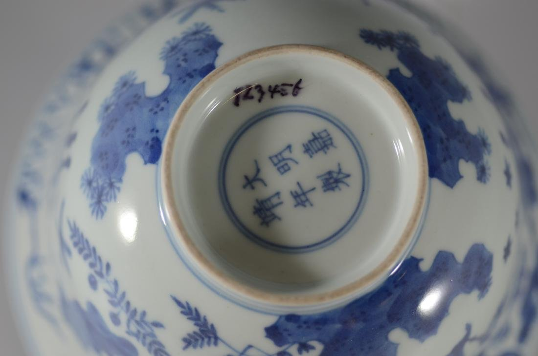 Chinese blue and white bowl with deer - 3