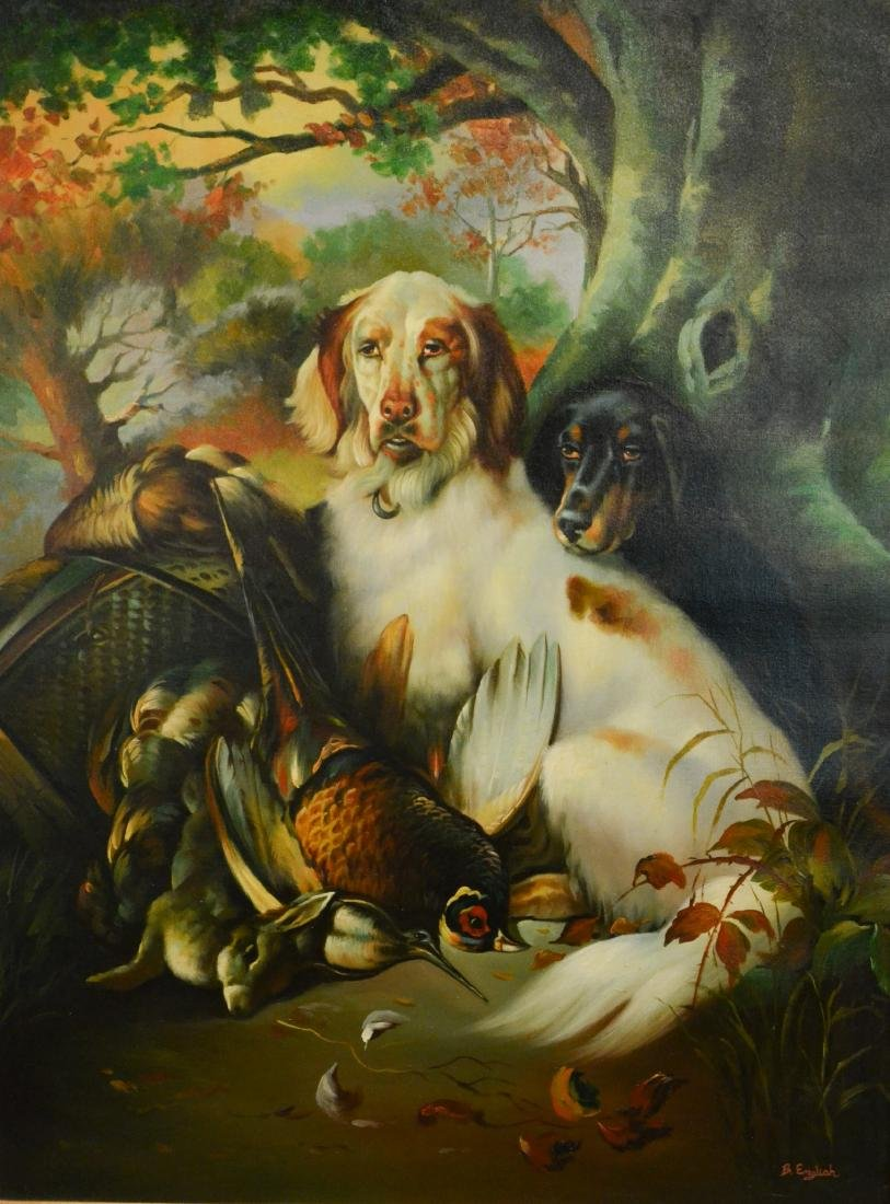 Contemporary painting of two hunting dogs