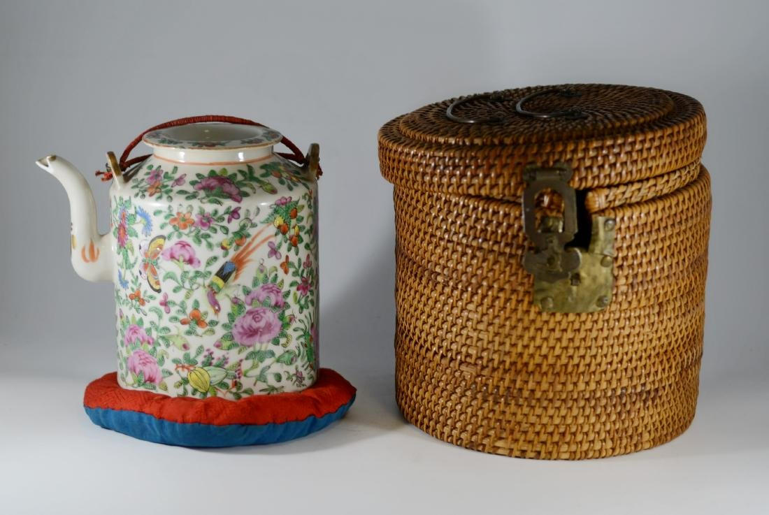 Chinese Famille Rose teapot, original wicker basket