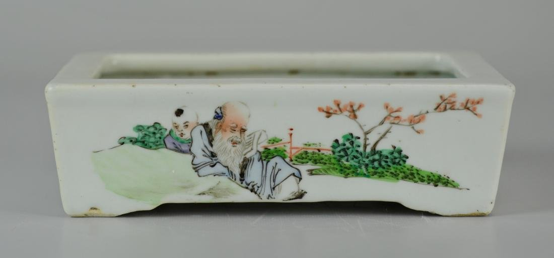 Chinese porcelain shallow planter - 4