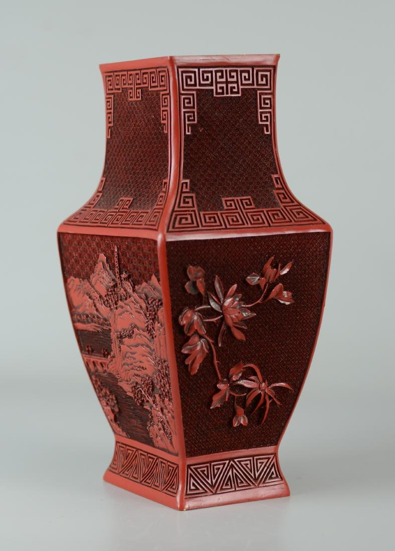 (2) Chinese carved cinnabar vases - 3