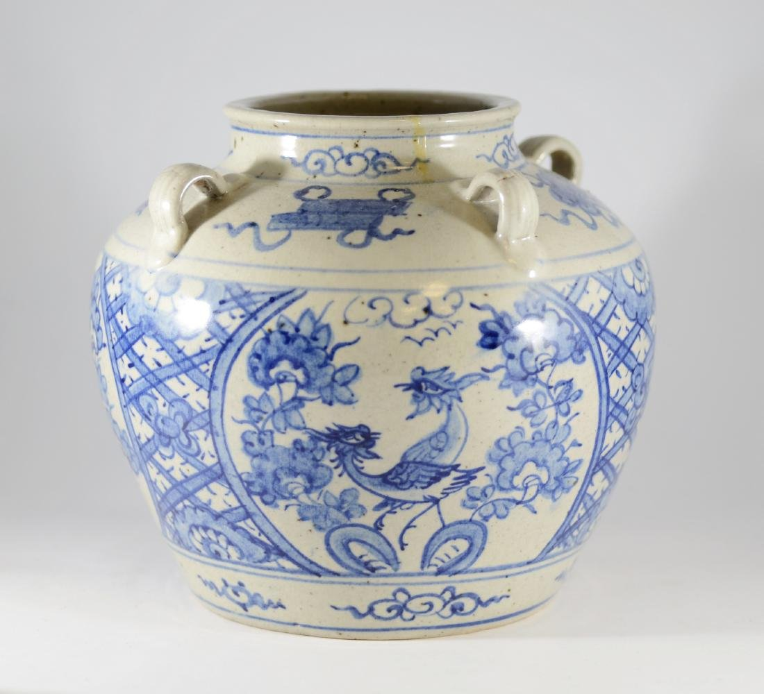 Chinese blue and white jar with 4 handles