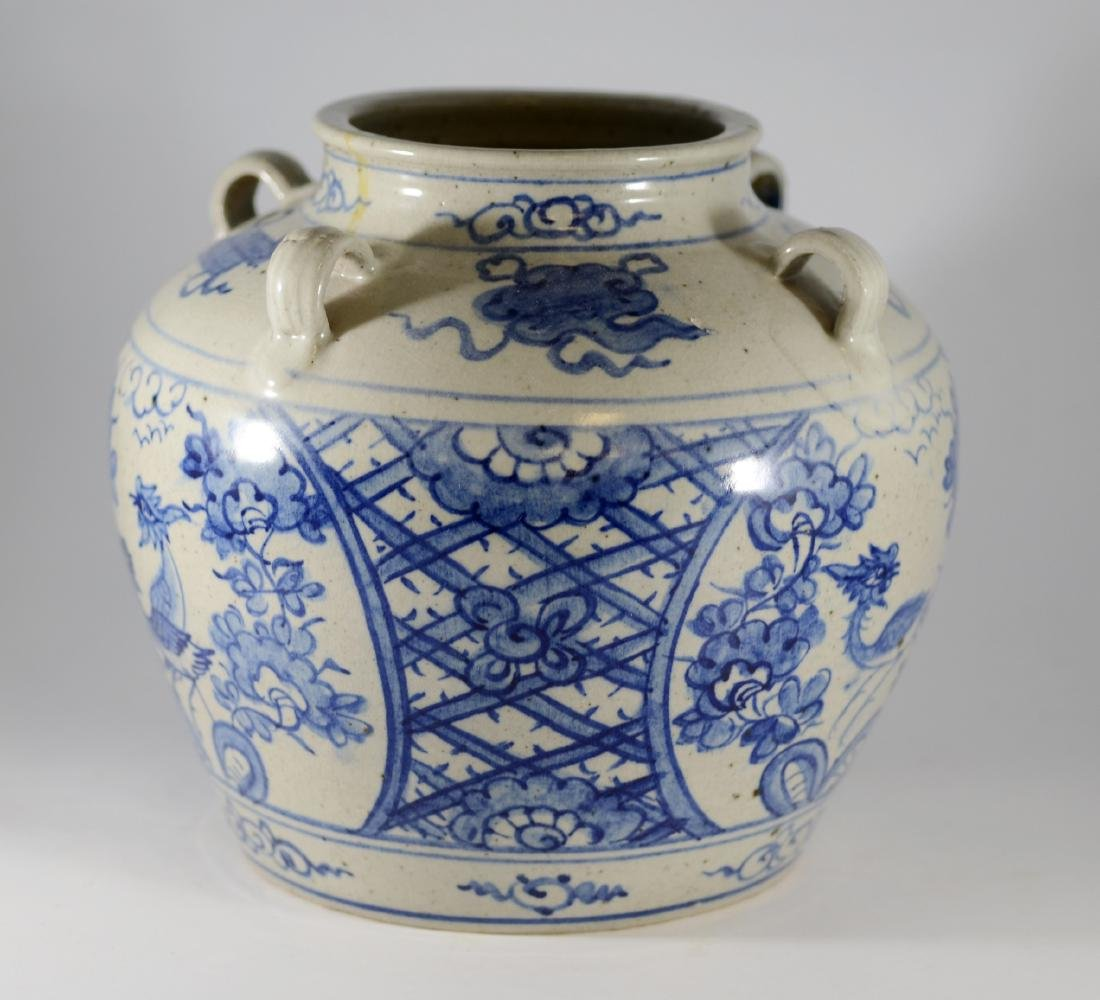 Chinese blue and white jar with 4 handles - 2
