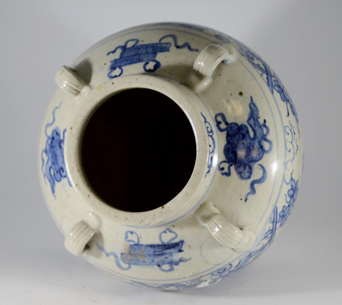Chinese blue and white jar with 4 handles - 4