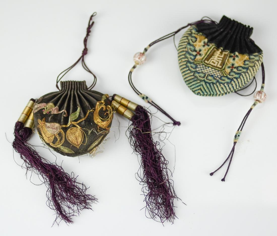 (2) Chinese embroidered purses