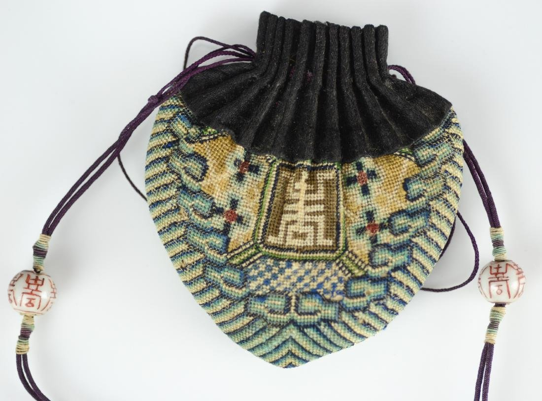 (2) Chinese embroidered purses - 3