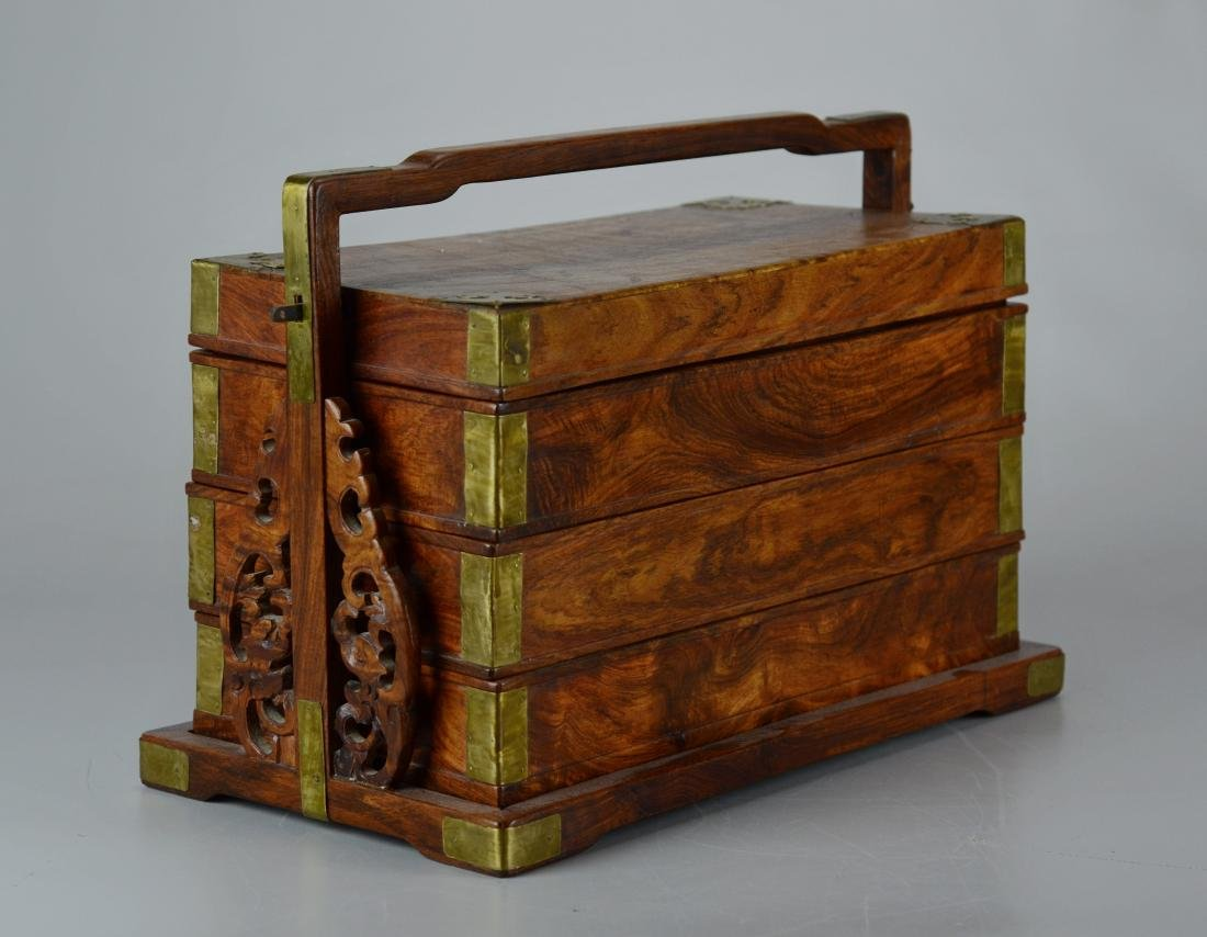 Chinese 3-tier wooden lunch box, brass mounts