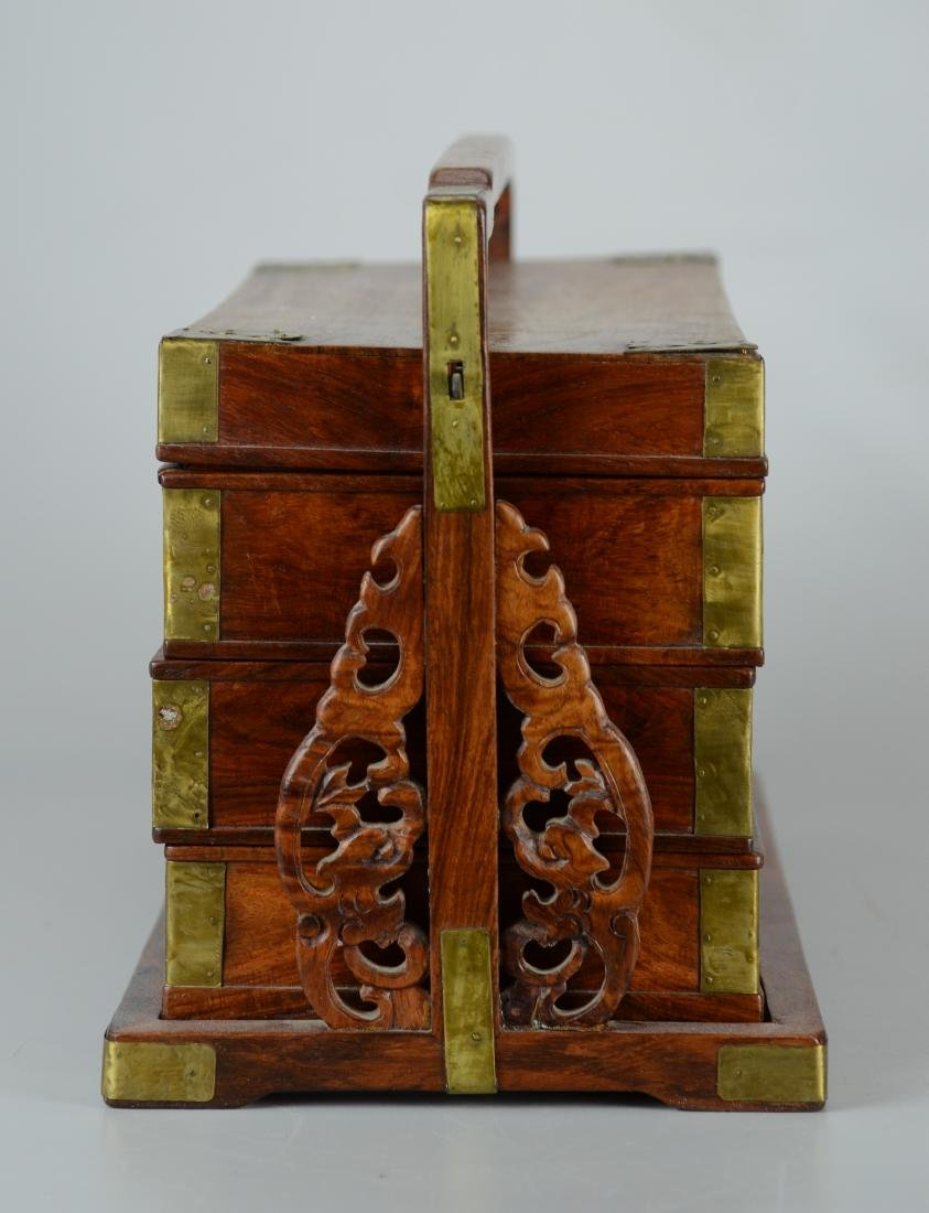 Chinese 3-tier wooden lunch box, brass mounts - 2