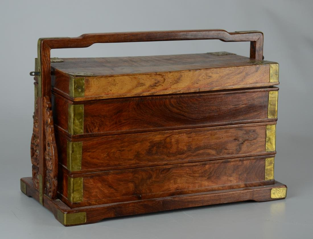 Chinese 3-tier wooden lunch box, brass mounts - 3