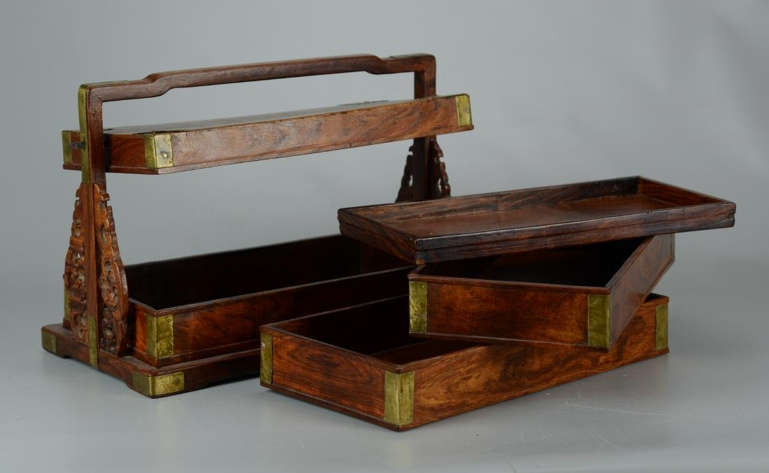 Chinese 3-tier wooden lunch box, brass mounts - 4
