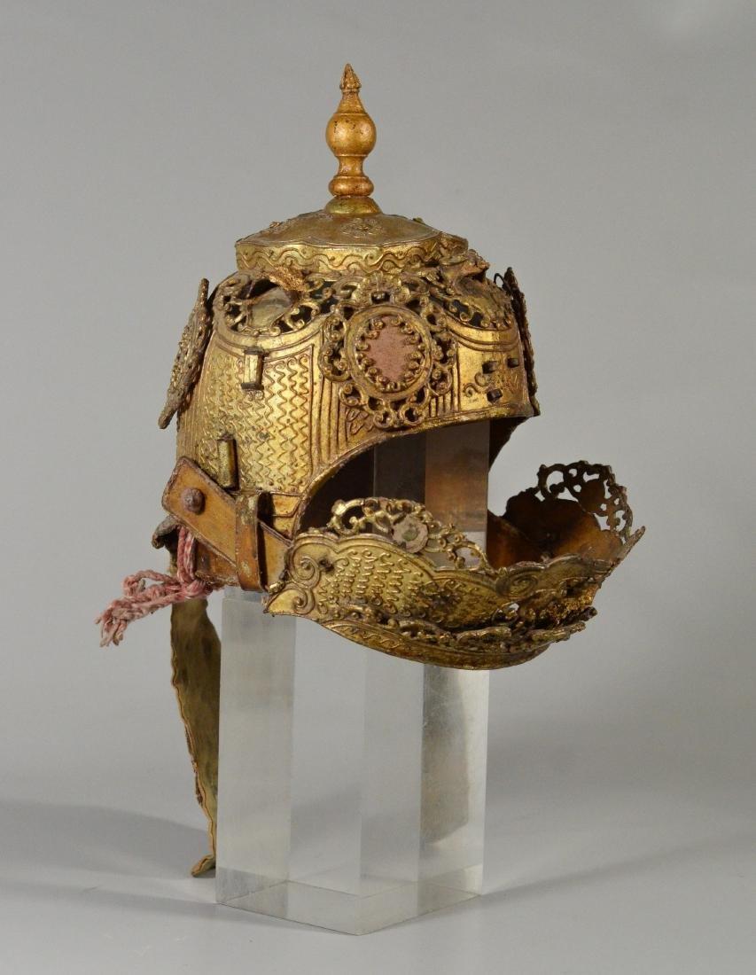 "Thai/Indonesian theatrical headdress, gilt finish, 10"""