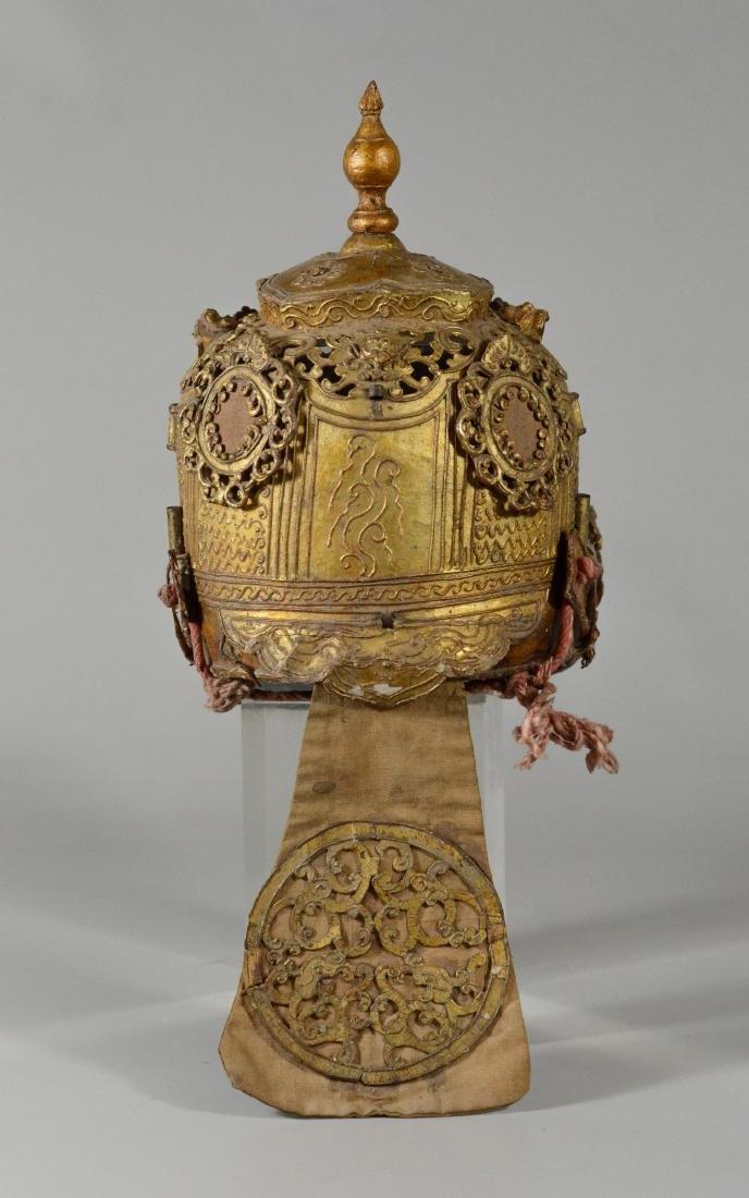 "Thai/Indonesian theatrical headdress, gilt finish, 10"" - 2"
