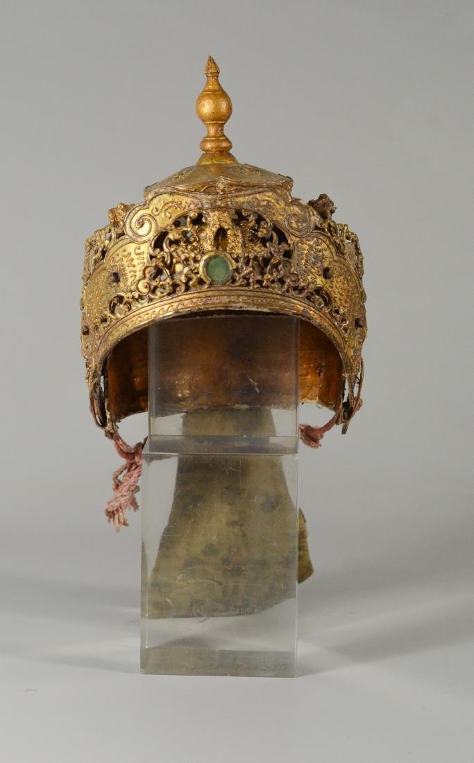 "Thai/Indonesian theatrical headdress, gilt finish, 10"" - 5"