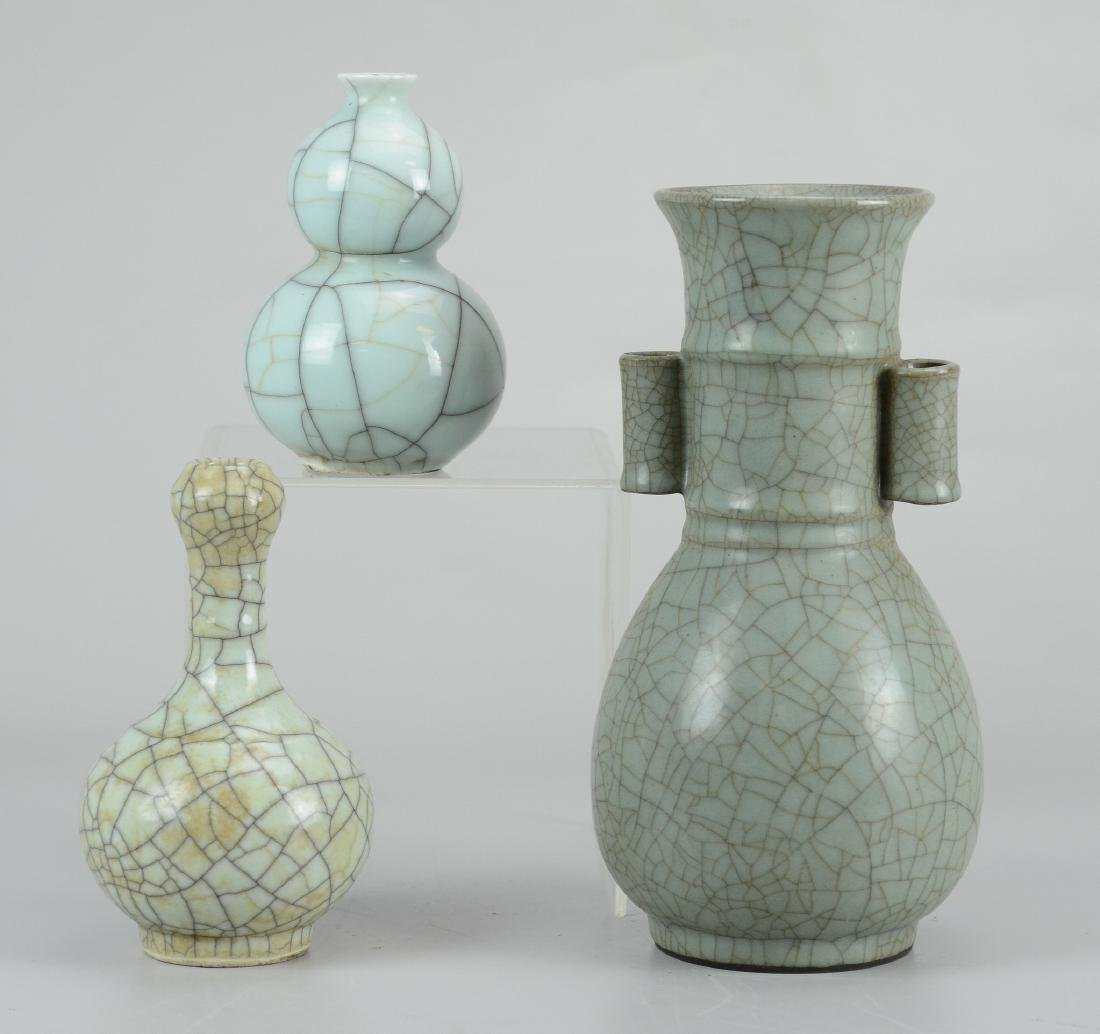 (3) Chinese crackle glazed porcelain celadon vases