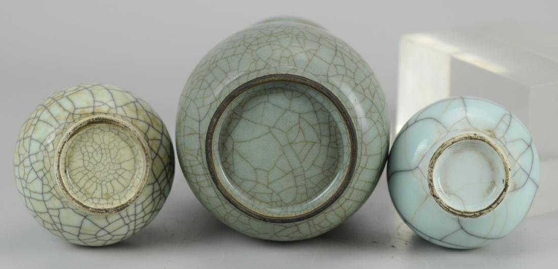 (3) Chinese crackle glazed porcelain celadon vases - 2