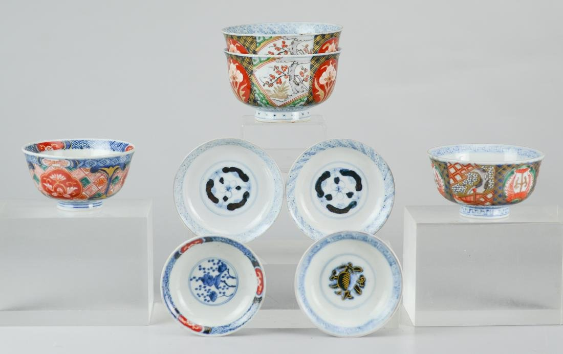 (4) Japanese Imari covered rice bowls