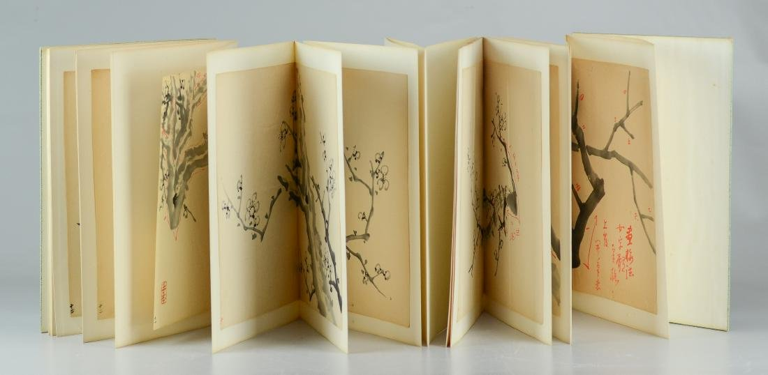 Bound book of 17 Asian Sumi drawings