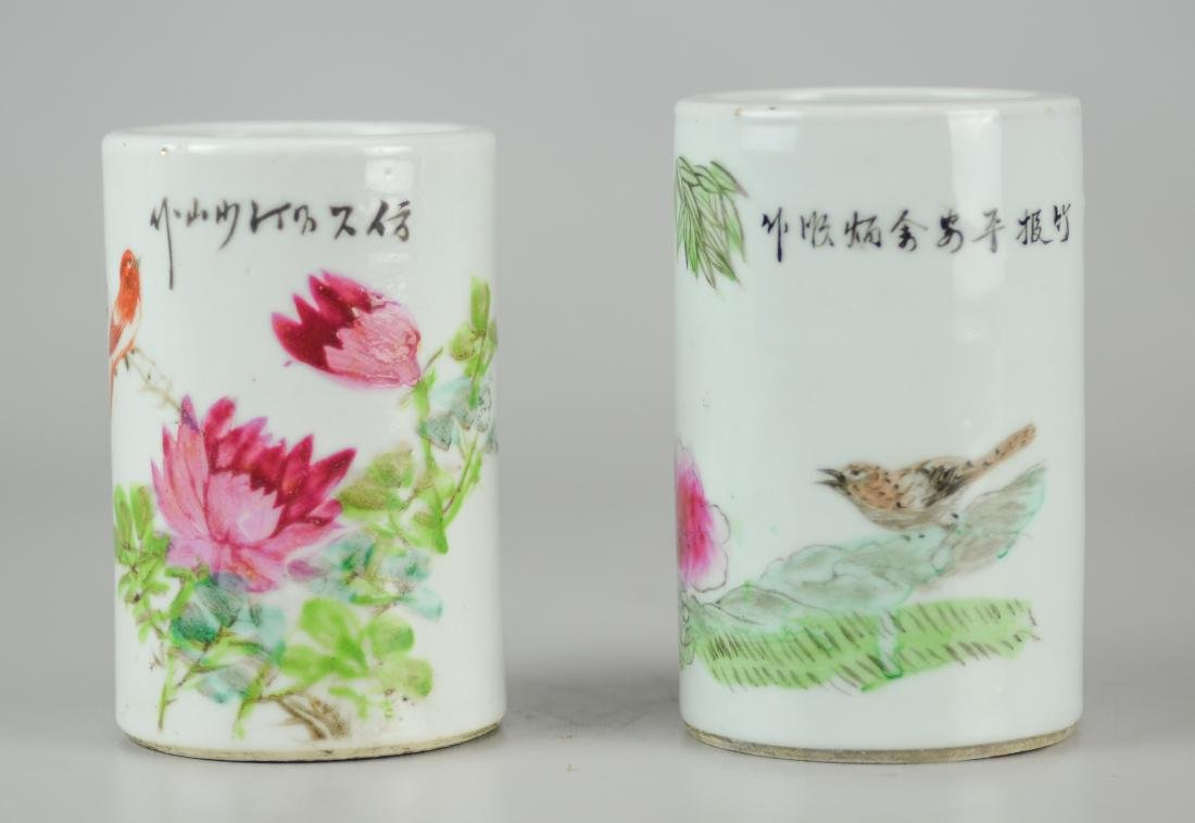 Pr Republic period Chinese porcelain brush holders