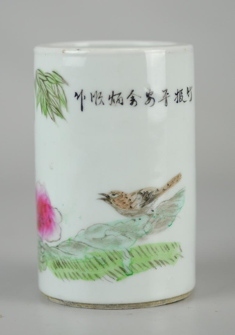 Pr Republic period Chinese porcelain brush holders - 2