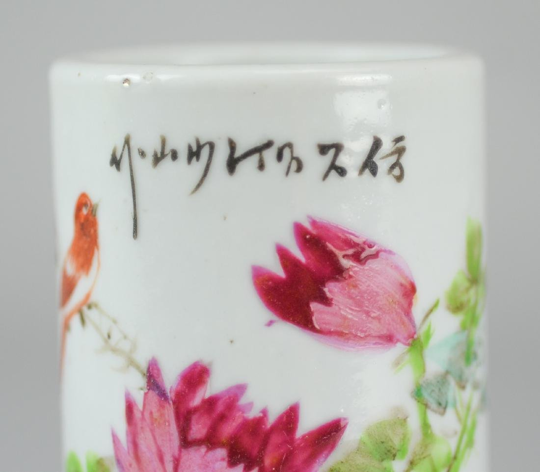 Pr Republic period Chinese porcelain brush holders - 4