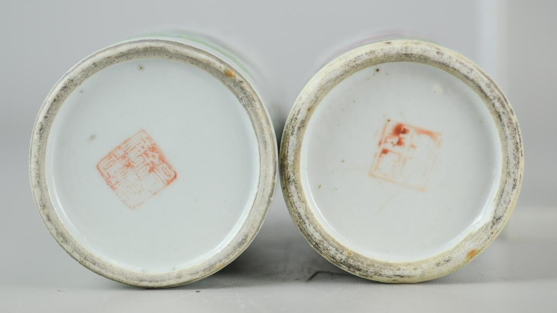 Pr Republic period Chinese porcelain brush holders - 6